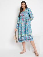 Drawstring Turquoise Blue Polyester Dress - 5