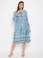 Drawstring Turquoise Blue Polyester Dress - 4