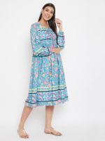 Drawstring Turquoise Blue Polyester Dress - 6