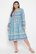 Drawstring Turquoise Blue Polyester Dress - 1