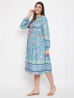 Drawstring Turquoise Blue Polyester Dress - 7