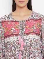 Drawstring Pink Polyester Dress - Pink - Detail
