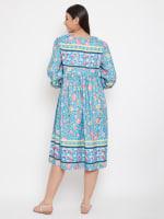 Drawstring Turquoise Blue Polyester Dress - 2