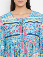Drawstring Turquoise Blue Polyester Dress - 3