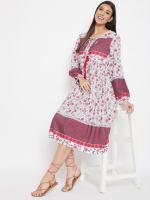 Drawstring Burgundy Polyester Dress - 5