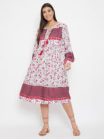 Drawstring Burgundy Polyester Dress - 4