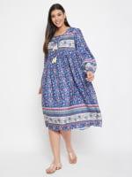 Drawstring Blue Polyester Dress - 3