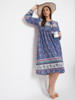 Drawstring Blue Polyester Dress - 4