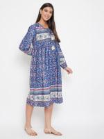 Drawstring Blue Polyester Dress - 5
