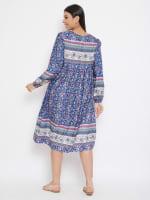 Drawstring Blue Polyester Dress - 2