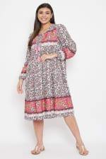 Drawstring Pink Dress - Plus - 1