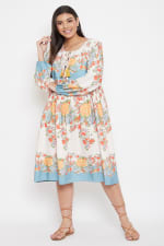 Drawstring Multicolor Polyester Dress - Plus - Multi - Front