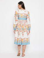 Drawstring Multicolor Polyester Dress - Plus - Multi - Back