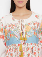 Drawstring Multicolor Polyester Dress - Plus - Multi - Detail