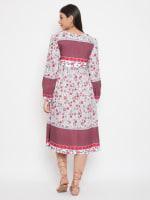 Drawstring Burgundy Polyester Dress - Plus - Burgundy - Back