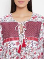 Drawstring Burgundy Polyester Dress - Plus - Burgundy - Detail