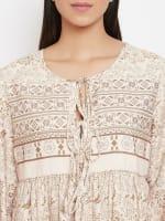 Drawstring Beige Polyester Dress - 3