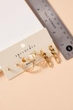 Set of Metal Chain Drop Earrings, Hoops and Rhine Stone Stud Earrings - 4