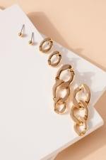 Set of Metal Chain Drop Earrings and Post Earrings - 2
