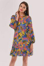 Blue Multi Closet Frill Hem Dress - 3