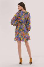 Blue Multi Closet Frill Hem Dress - 2