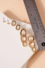 Set of Metal Chain Drop Earrings and Post Earrings - 4