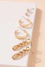 Set of Metal Chain Drop Earrings, Hoops and Rhine Stone Stud Earrings - 3