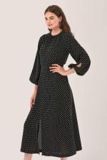 Black Gathered Neck A Line Midi Dress - 3