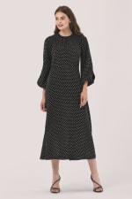 Black Gathered Neck A Line Midi Dress - 1