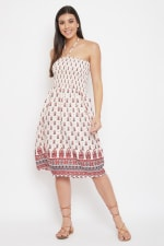 Paisley Pattern Short Tube Dress - Plus - Beige - Front