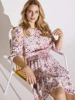 Smocked Waist Floral Dress - Ivory / Pink - Back