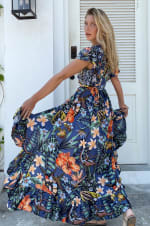 Carmen Wrap Maxi Dress  - Plus - Monkey Forest - Back