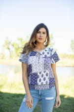 Patchwork Tie Front Peasant Blouse  - Misses - Off white/Navy - Front