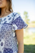 Patchwork Tie Front Peasant Blouse  - Misses - Off white/Navy - Detail