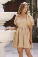 Strawberry Fields  Puff Sleeve Linen Mini Dress - Plus - 30
