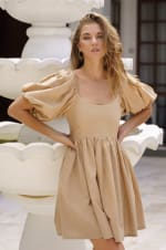Strawberry Fields  Puff Sleeve Linen Mini Dress - 31