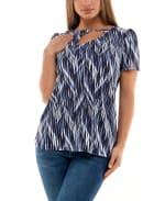 Adrienne Vittadini Short Sleeve Top  with Asymmetrical Keyhole - 5