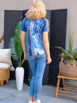 Denim Friendly Tie Dye Cold Shoulder Top - 3