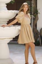 Strawberry Fields  Puff Sleeve Linen Mini Dress - Plus - 31