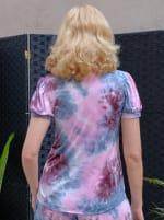 Pink Tie Dye Puff Sleeve Top - 2