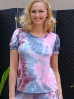Pink Tie Dye Puff Sleeve Top - 1