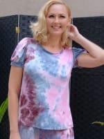 Pink Tie Dye Puff Sleeve Top - 4