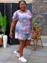 Pink Tie Dye Drawstring Short - Plus - 4