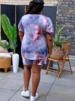 Pink Tie Dye Drawstring Short - Plus - 3
