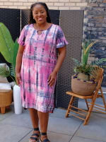 Pink Tie Dye Keyhole Dress - Plus - 3