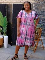 Pink Tie Dye Keyhole Dress - Plus - 4