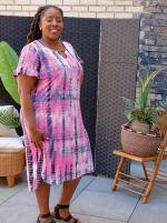 Pink Tie Dye Keyhole Dress - Plus - 5