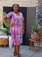 Pink Tie Dye Keyhole Dress - Plus - 1