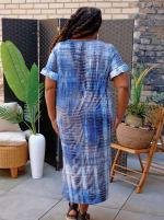 Denim Friendly Tie Dye Keyhole Dress - Plus - 2