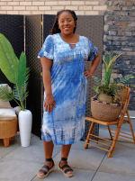 Denim Friendly Tie Dye Keyhole Dress - Plus - 4